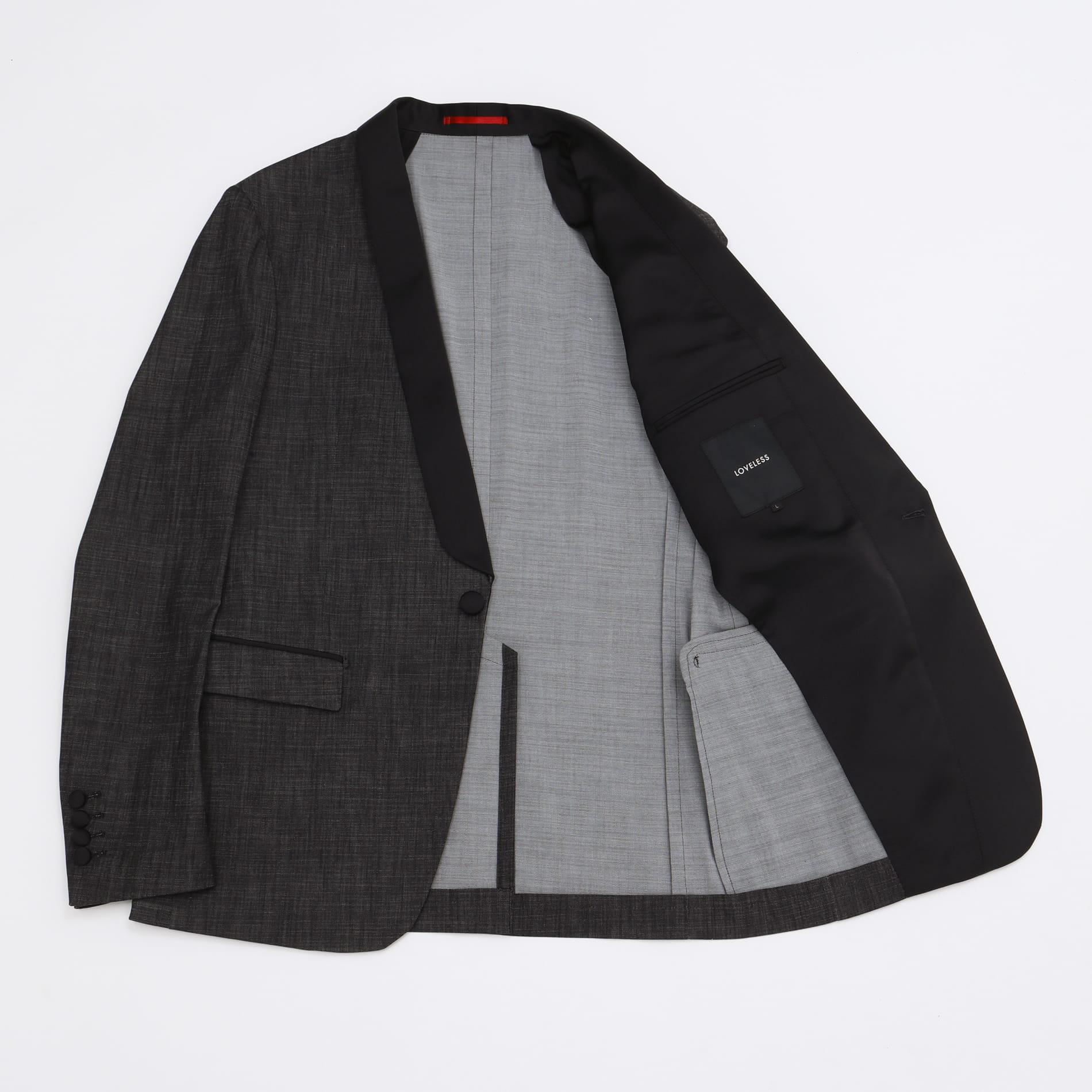 ショールカラー ストレッチデニム タキシードジャケット