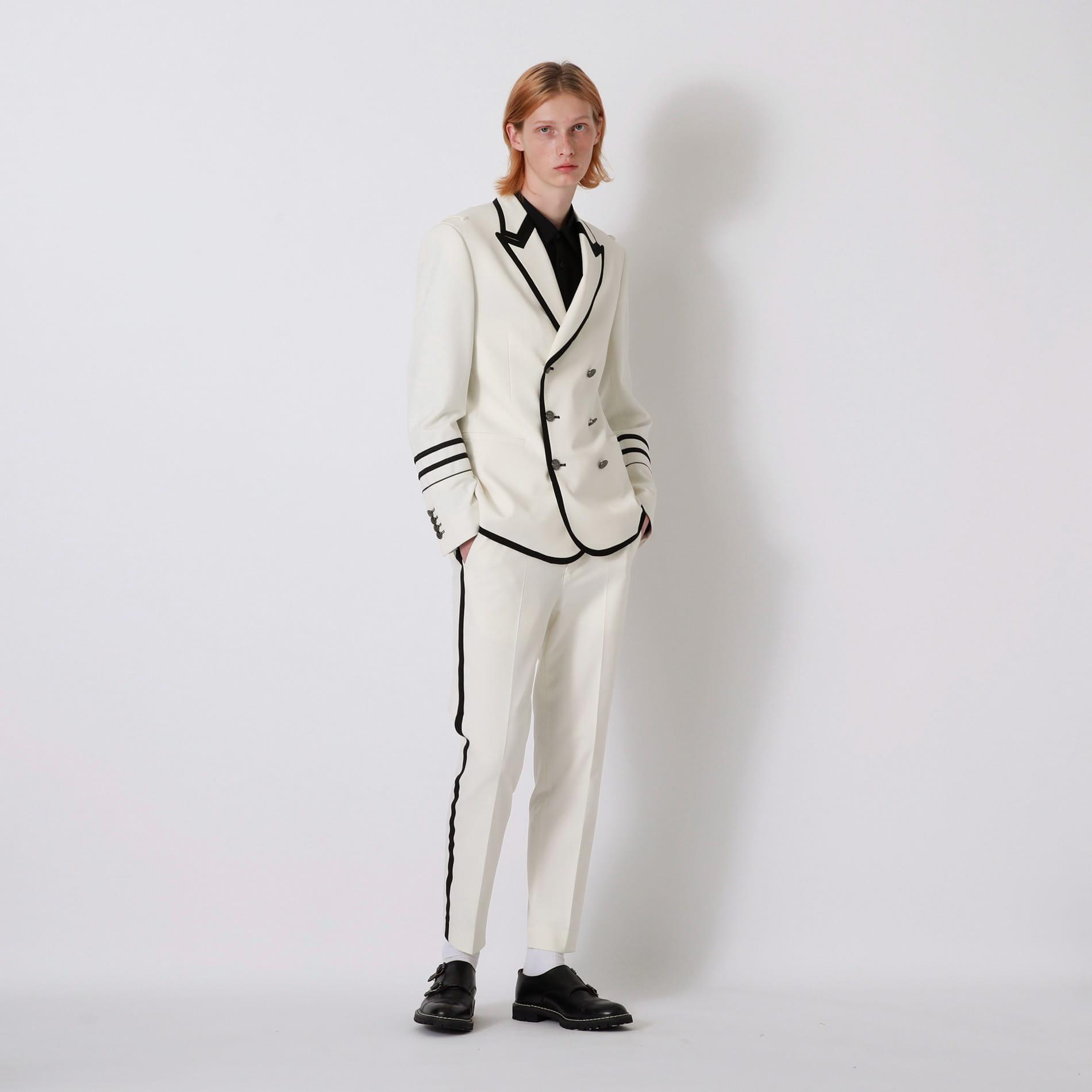 ホワイトミリタリー タキシードジャケット