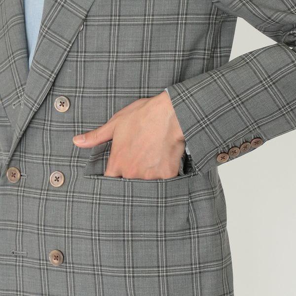 【LF】S120's TECH WOOL チェック ダブルジャケット