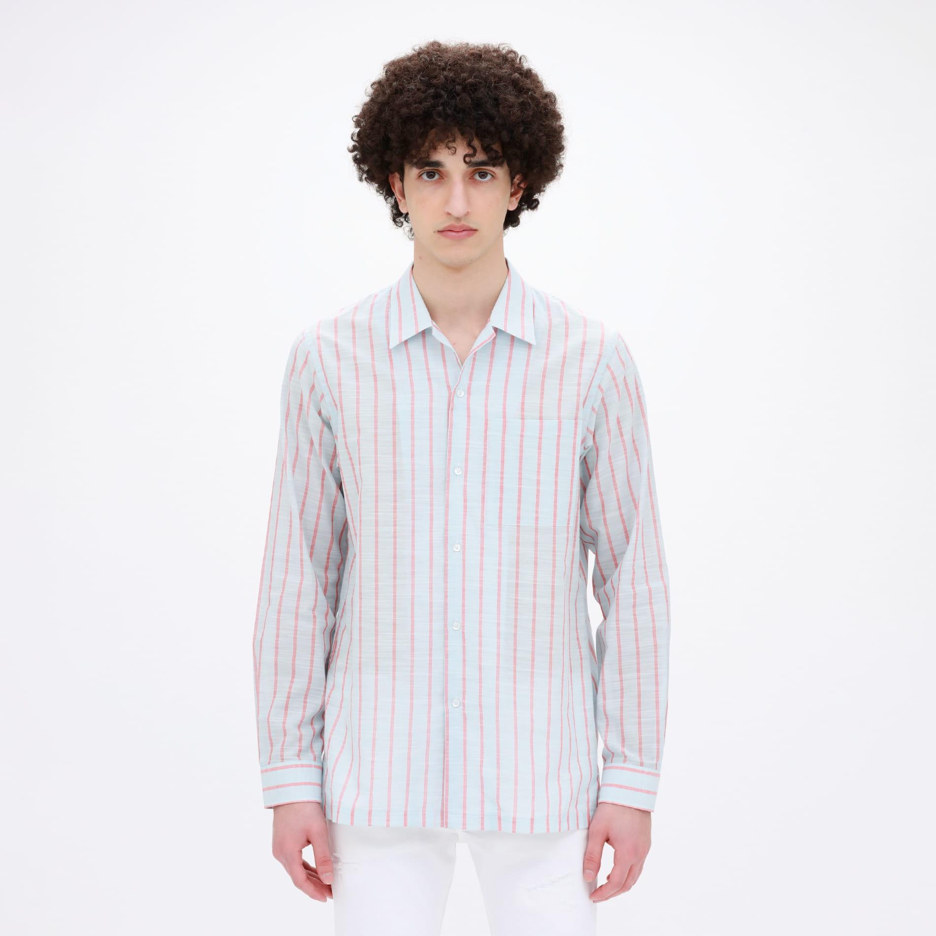 Safari ストライプ オープンカラーシャツ