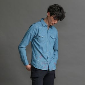 〈タイムセール〉MEN ペイントスプラッシュダンガリーシャツ