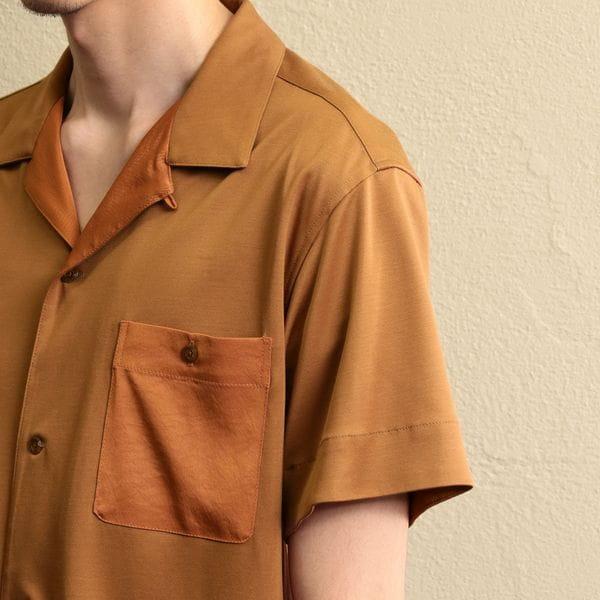 【LF】MEN カットソーポンチオープンカラーシャツ
