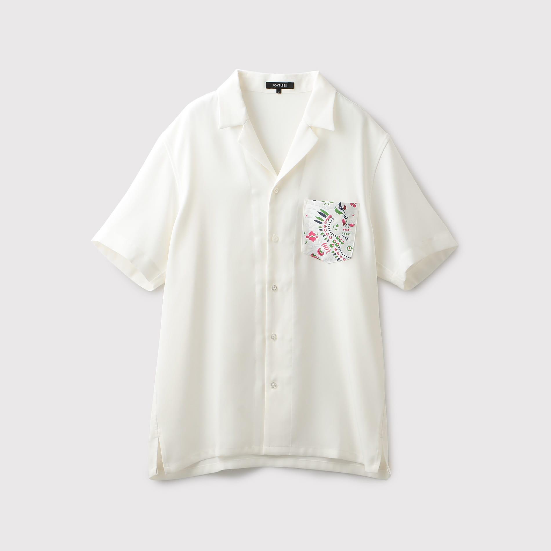 韓美林 鳳凰ポケット オープンカラーシャツ