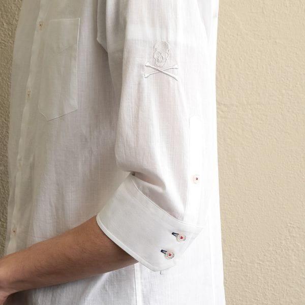 〈タイムセール〉MEN コットンリネン7分袖シャツ