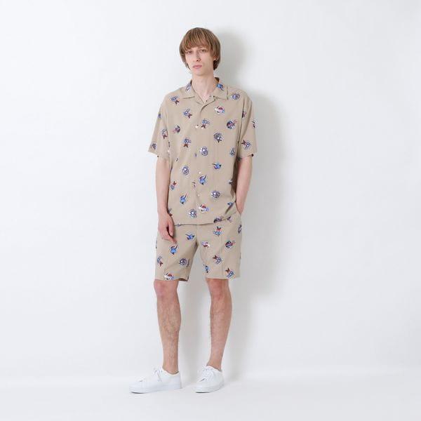 コラージュドット オープンカラーシャツ