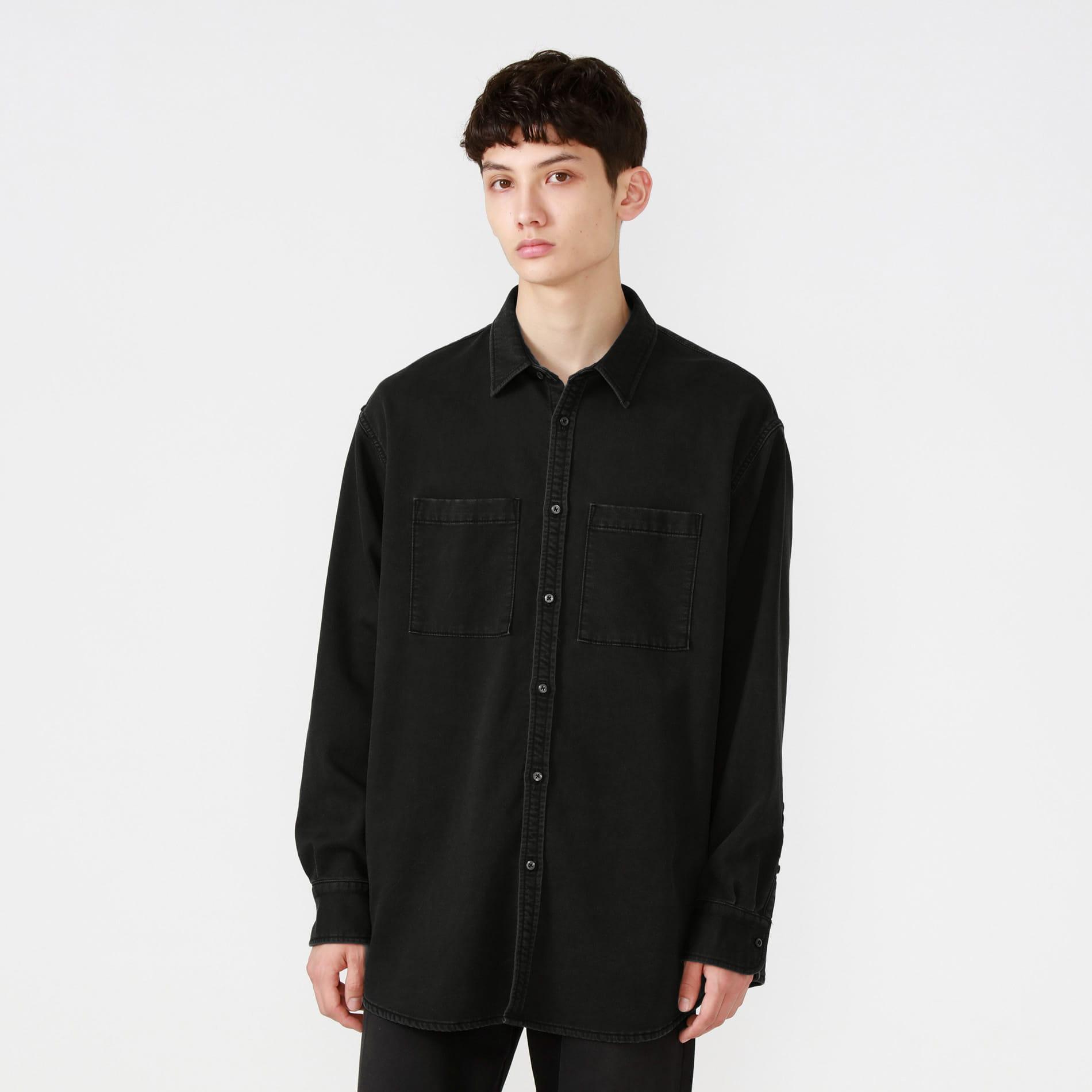 オーバーサイズ ブラックデニムシャツ