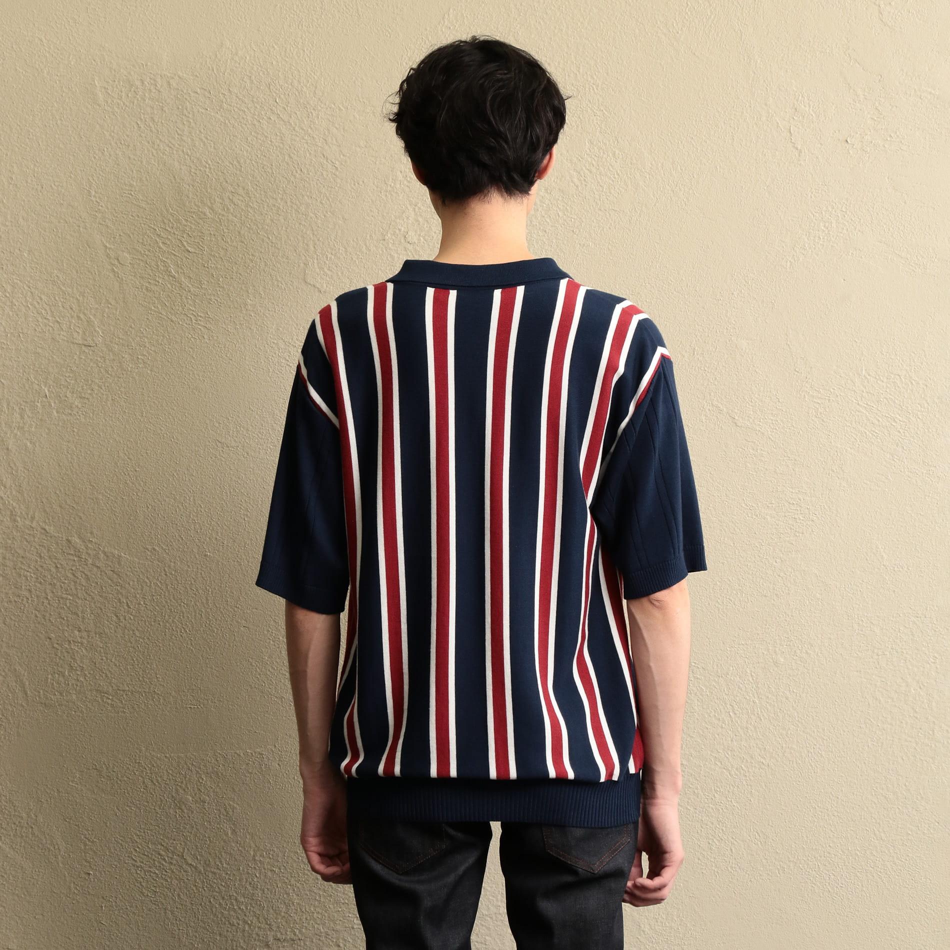 〈タイムセール〉【LF】MEN ストライプニットポロTシャツ