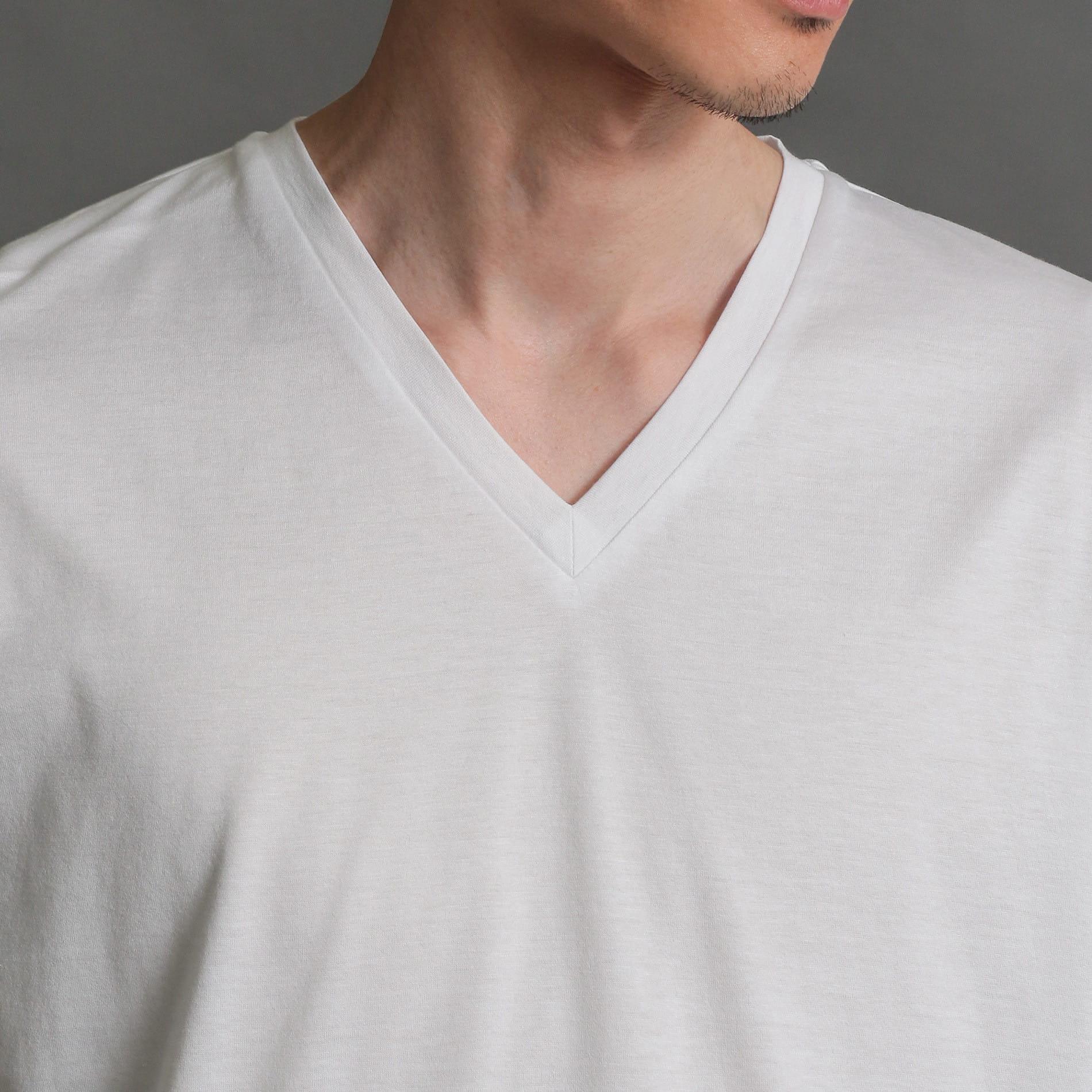 MEN はっ水コットンVネックTシャツ