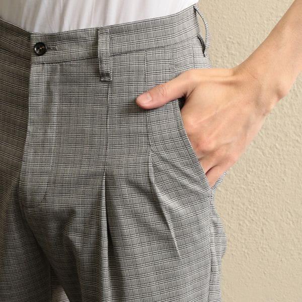 【LF】MEN マイクログレンチェックタックパンツ