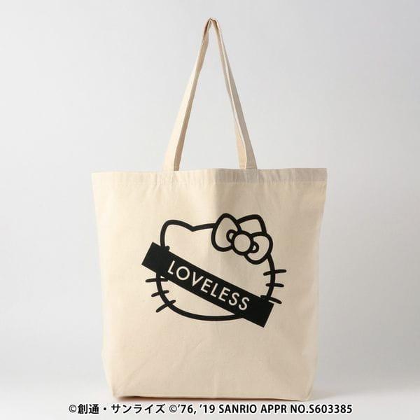 【LOVELESS×HELLO KITTY】キティステッカーロゴコラボトート