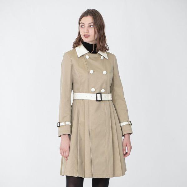 サイドプリーツ ベルテッド コート