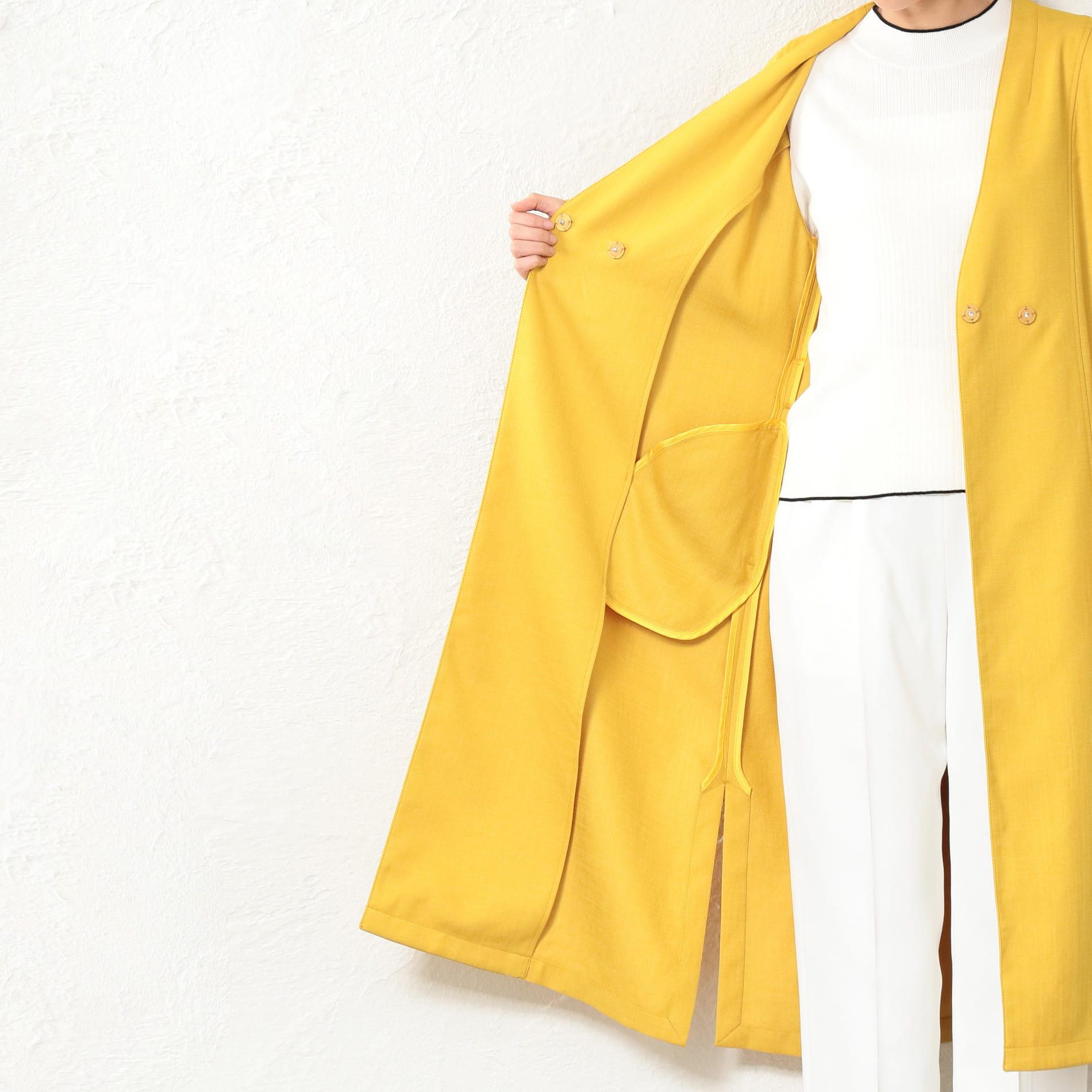 WOMEN リネンライクノーカラーコート