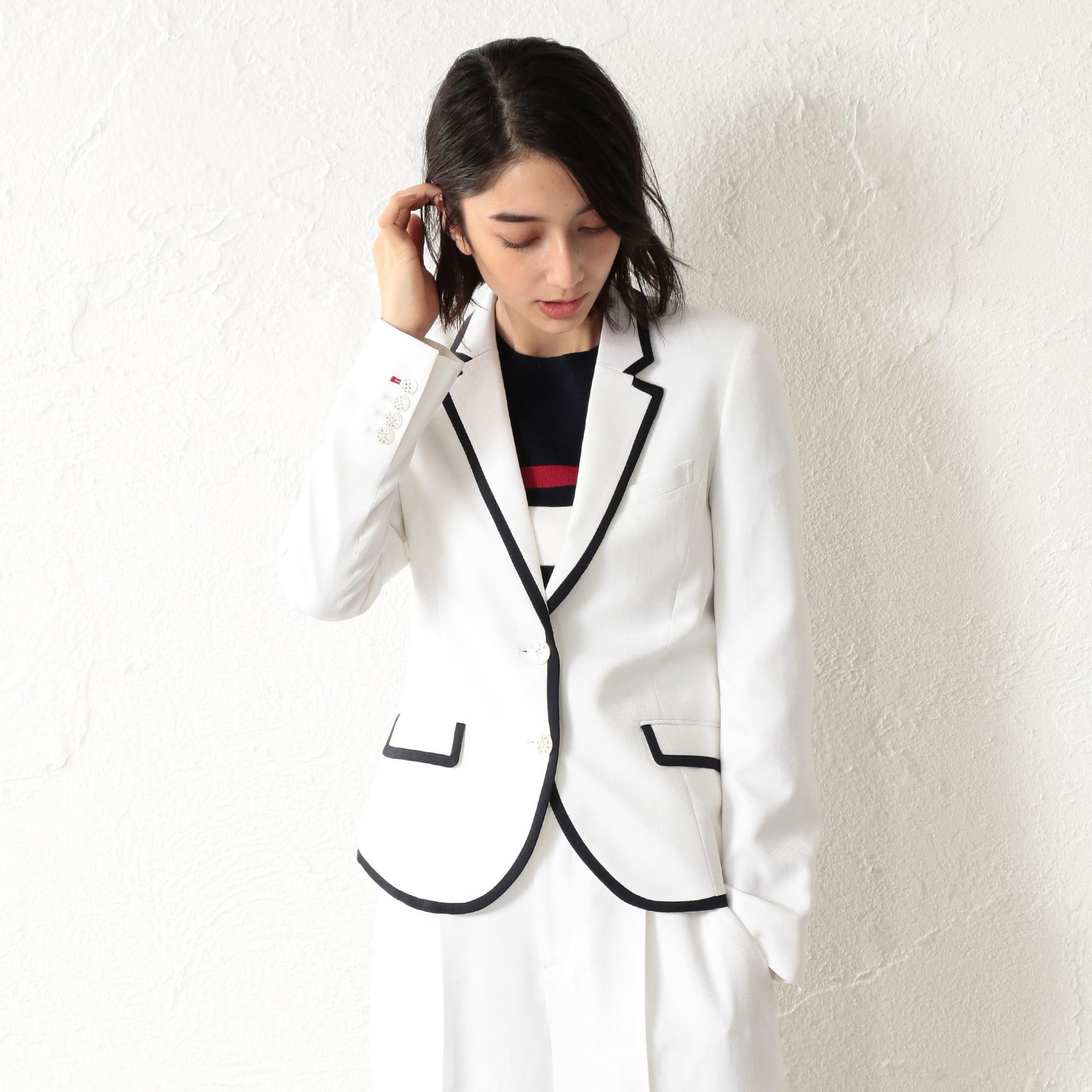 WOMEN リネンライクホワイトパイピングジャケット