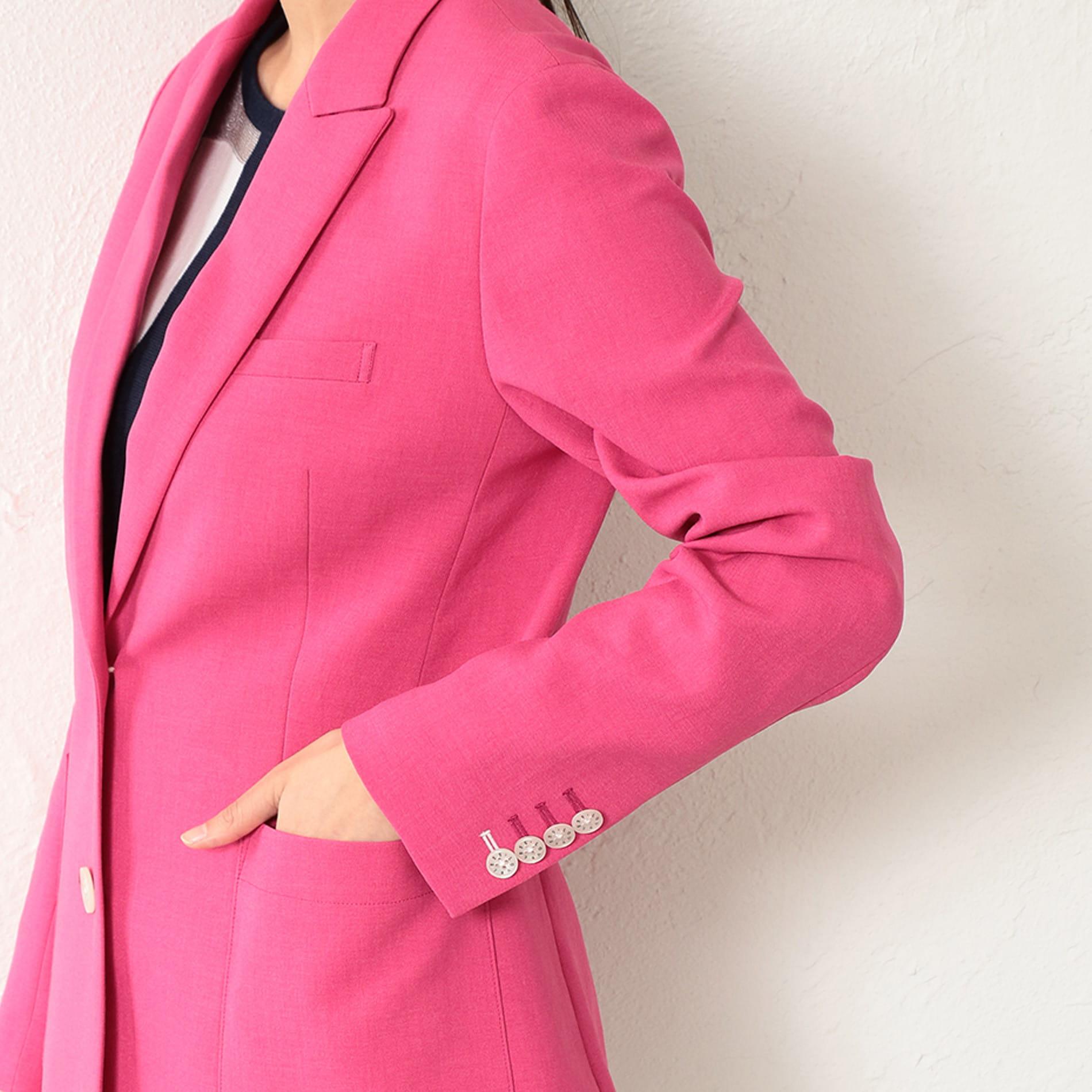 WOMEN リネンライクマゼンダロングジャケット