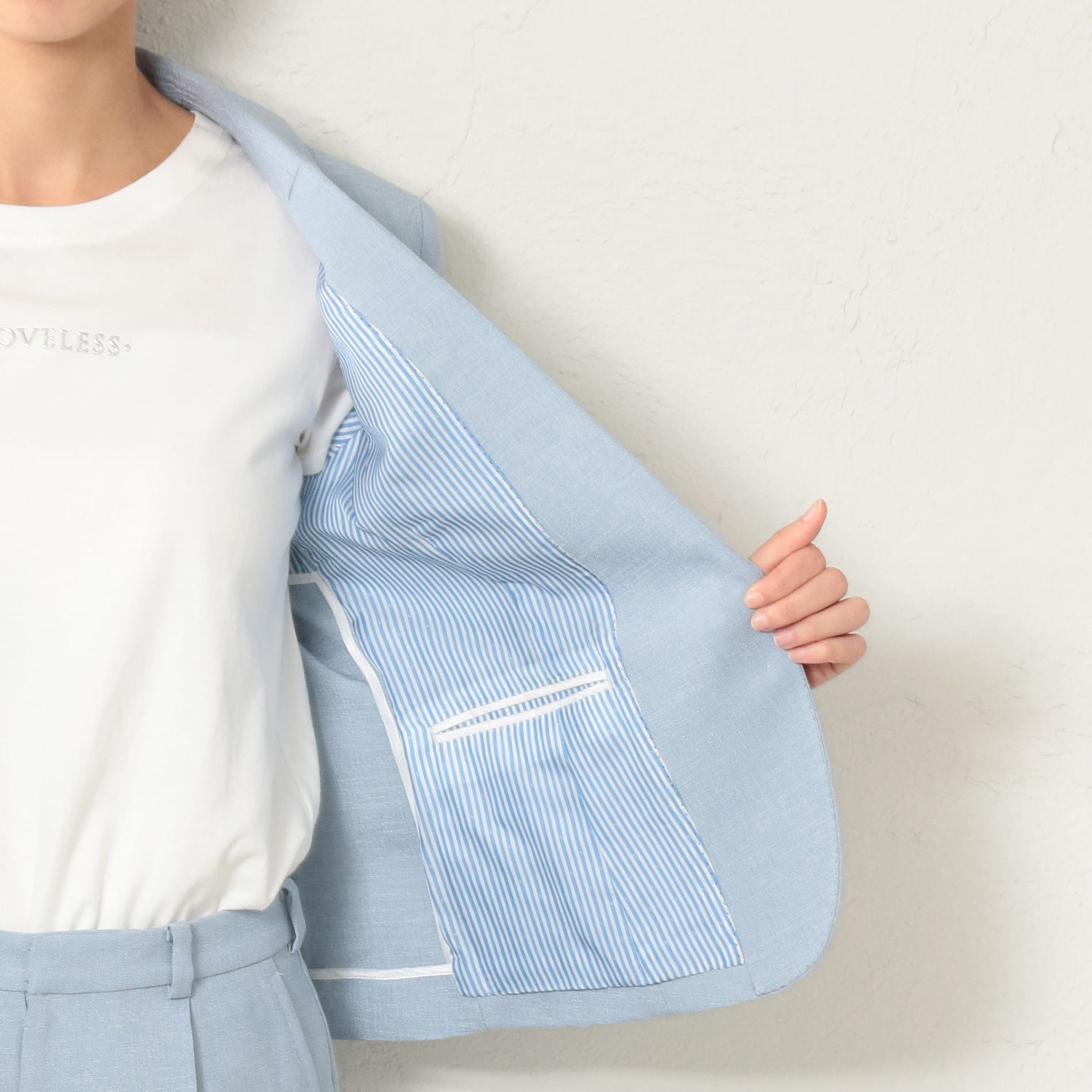 WOMEN リネンライク サックスハーフスリーブジャケット