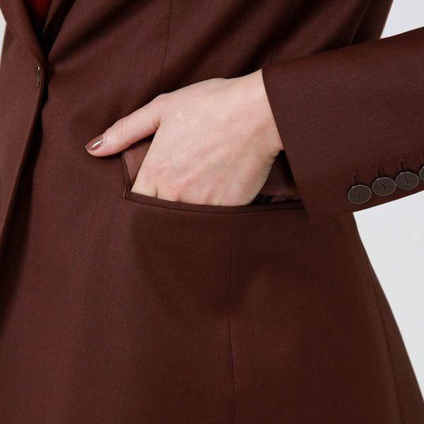 レッドブラウンコンケープド ロングジャケット