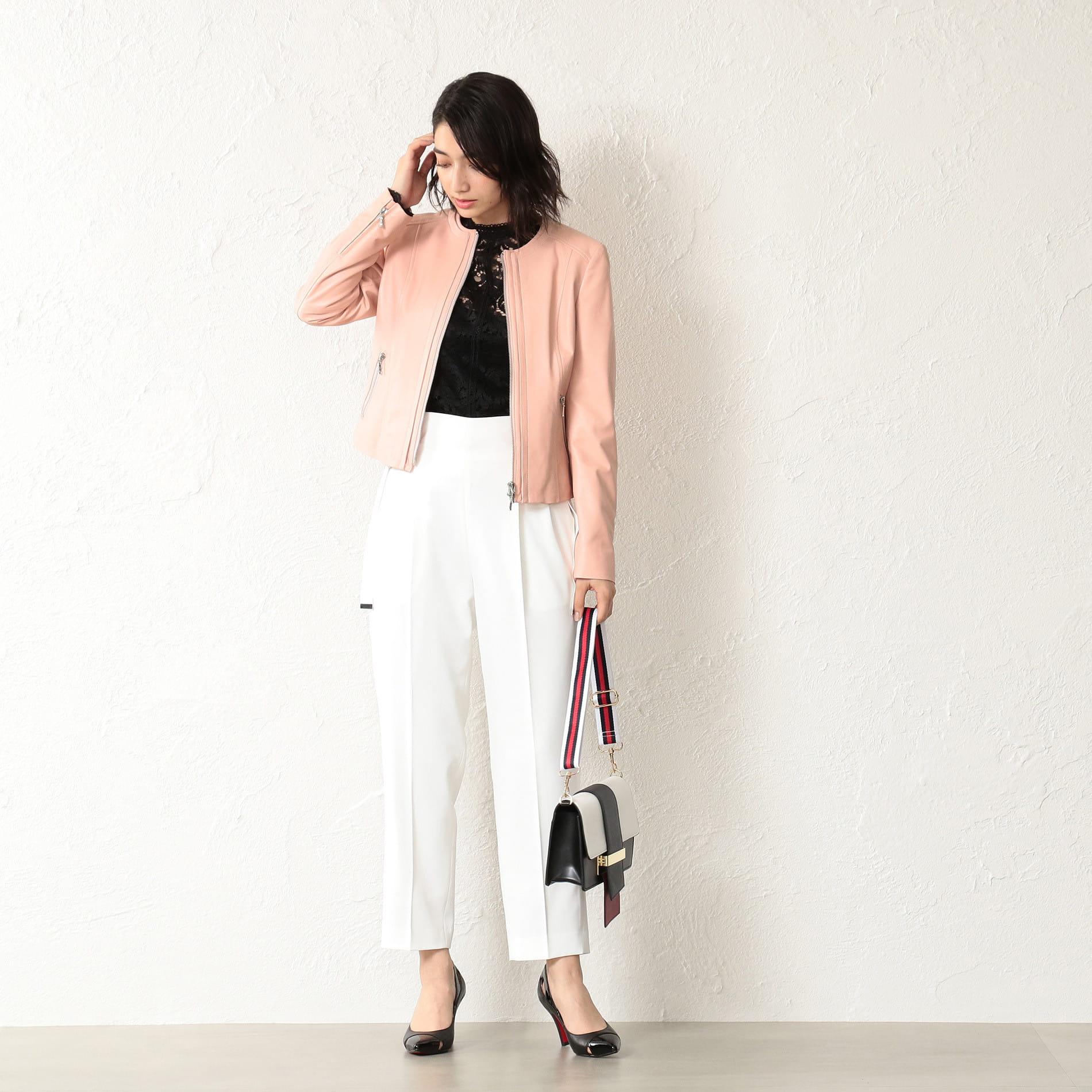 WOMEN レザー ノーカラージャケット