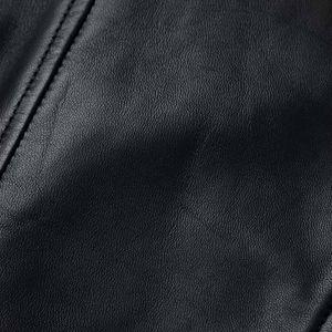 ブラックレザーノーカラーライダース