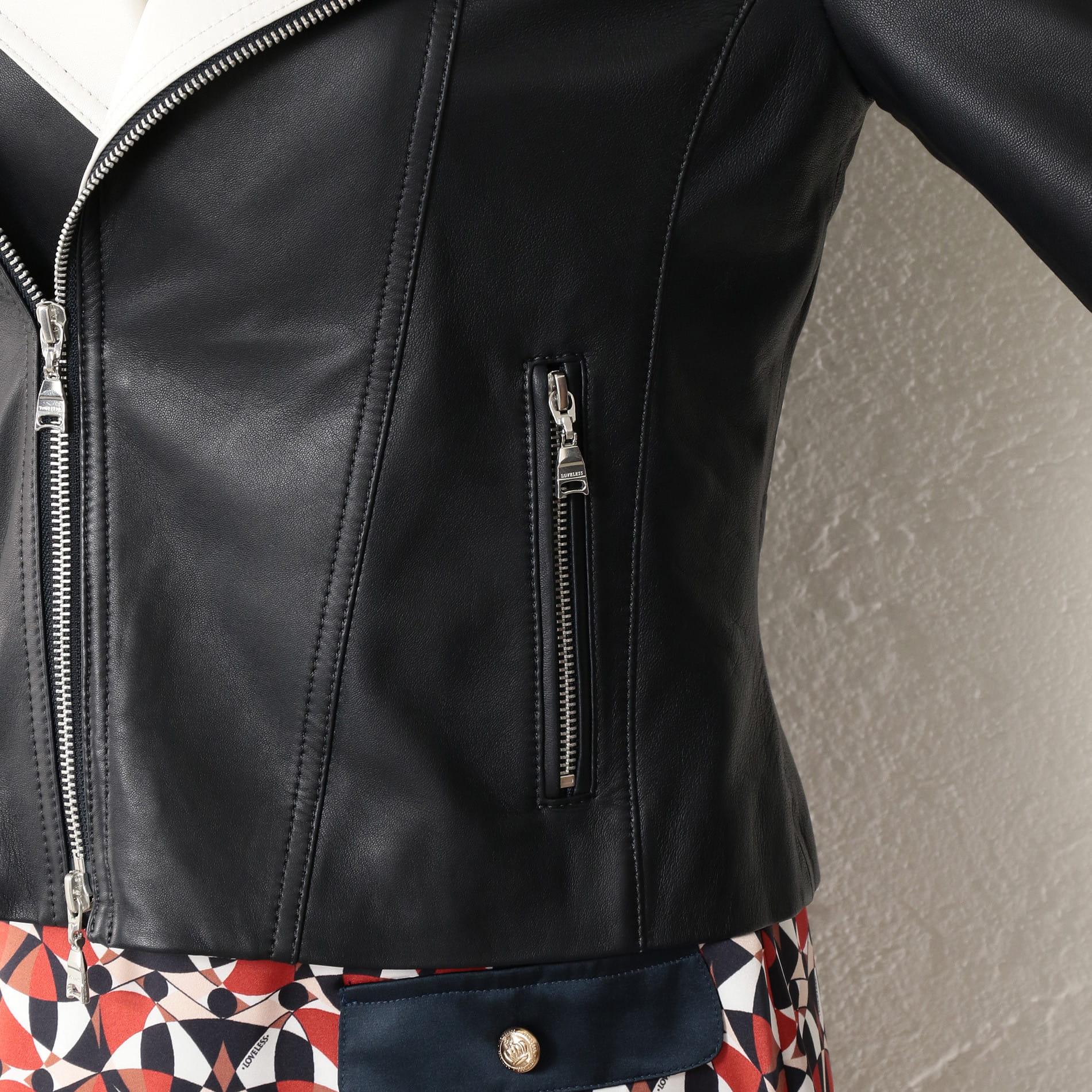 WOMEN バイカラーレザージャケット