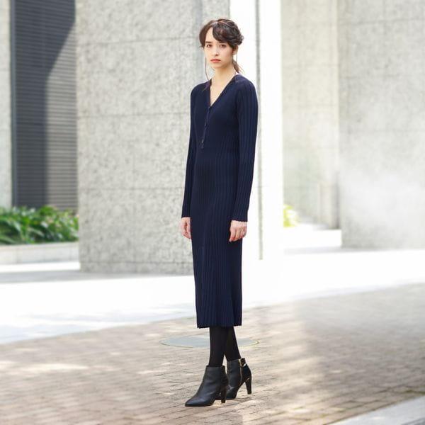 〈タイムセール〉【otonaMUSE11月号掲載】リブニット ドレス