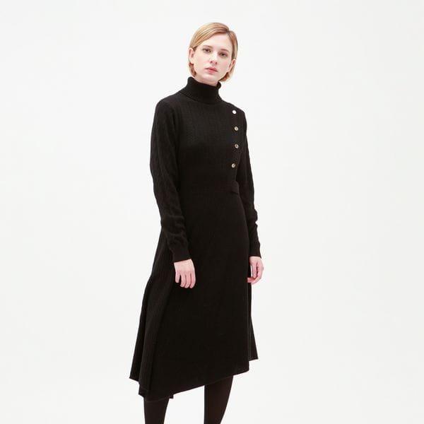 ケーブルコンビ ニット ドレス