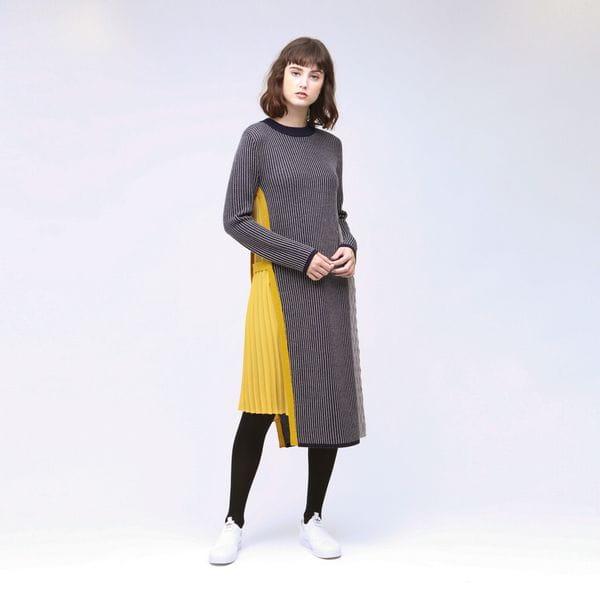 サイドプリーツ ニット ドレス