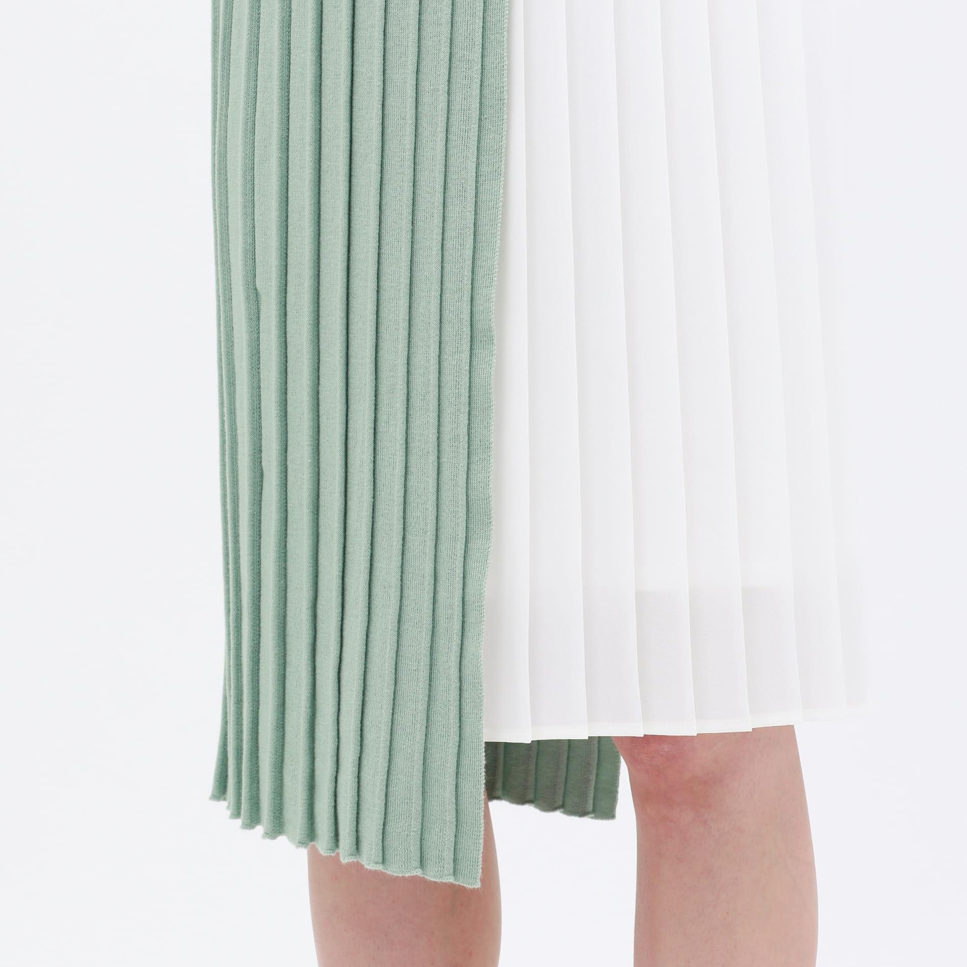 プリーツコンビ ニットドレス