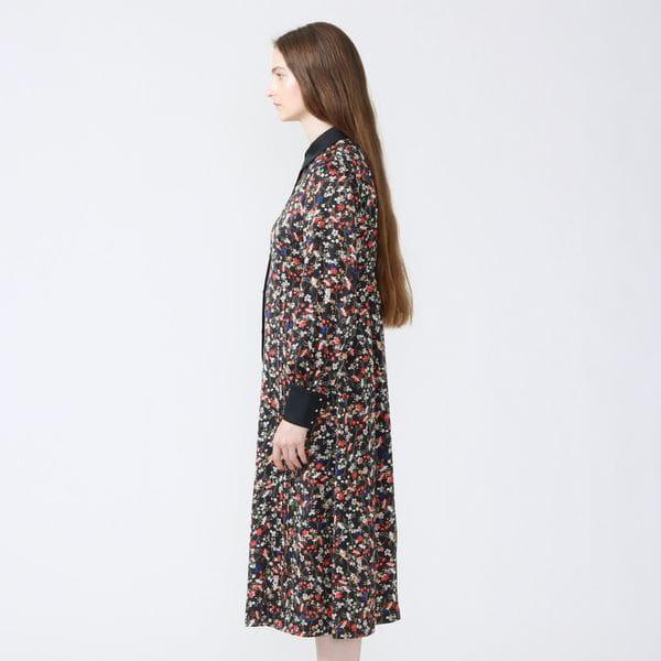 フラワークレリック シャツカラードレス