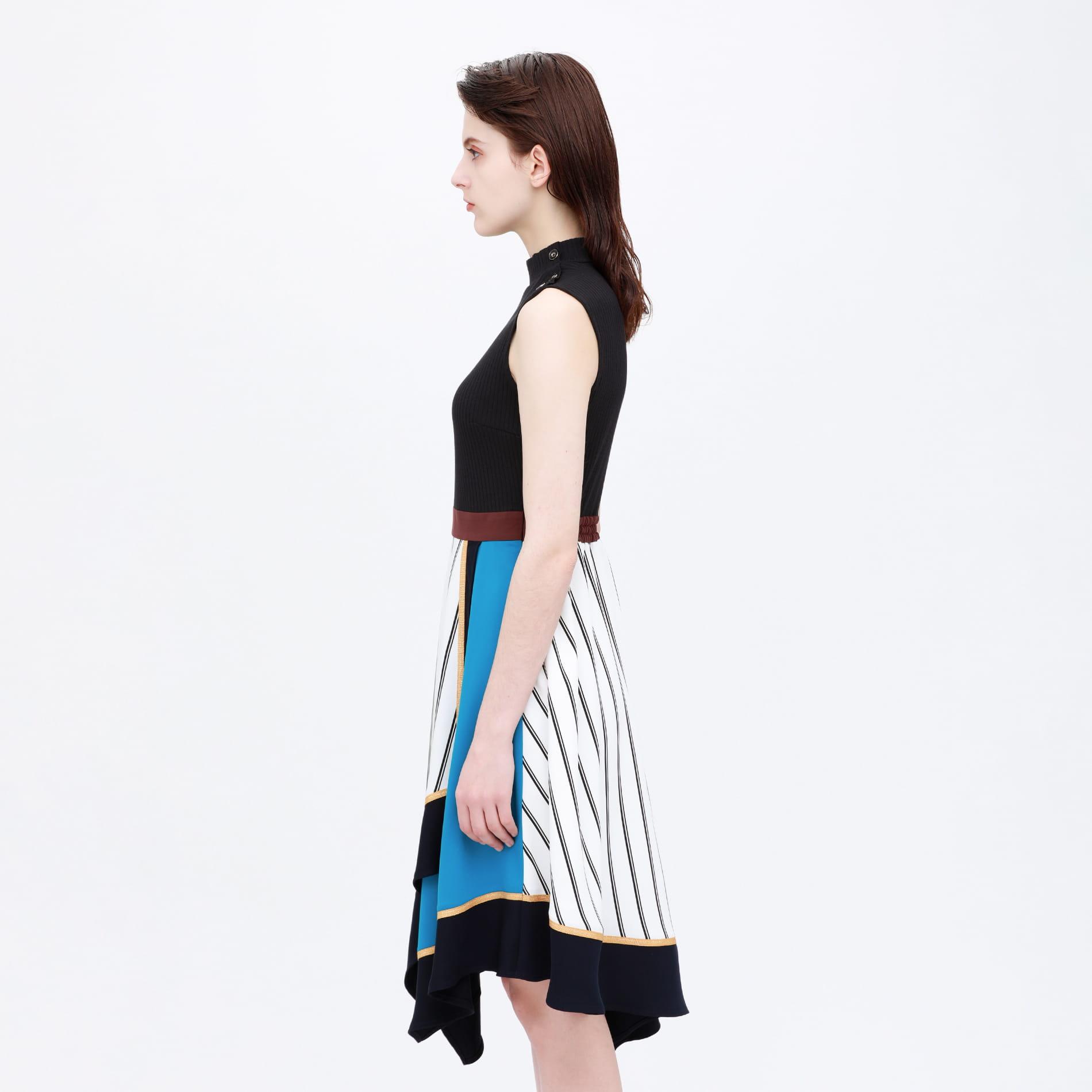 【otona MUSE掲載商品】アシンメトリー カラーブロック ドレス