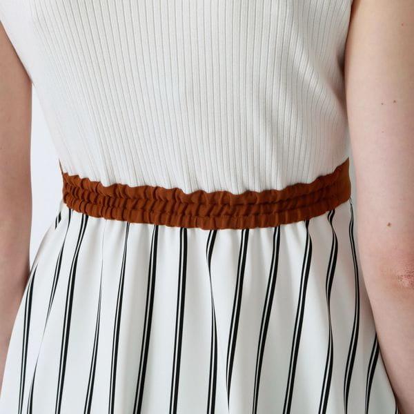 ホワイトアシンメトリー カラーブロック ドレス