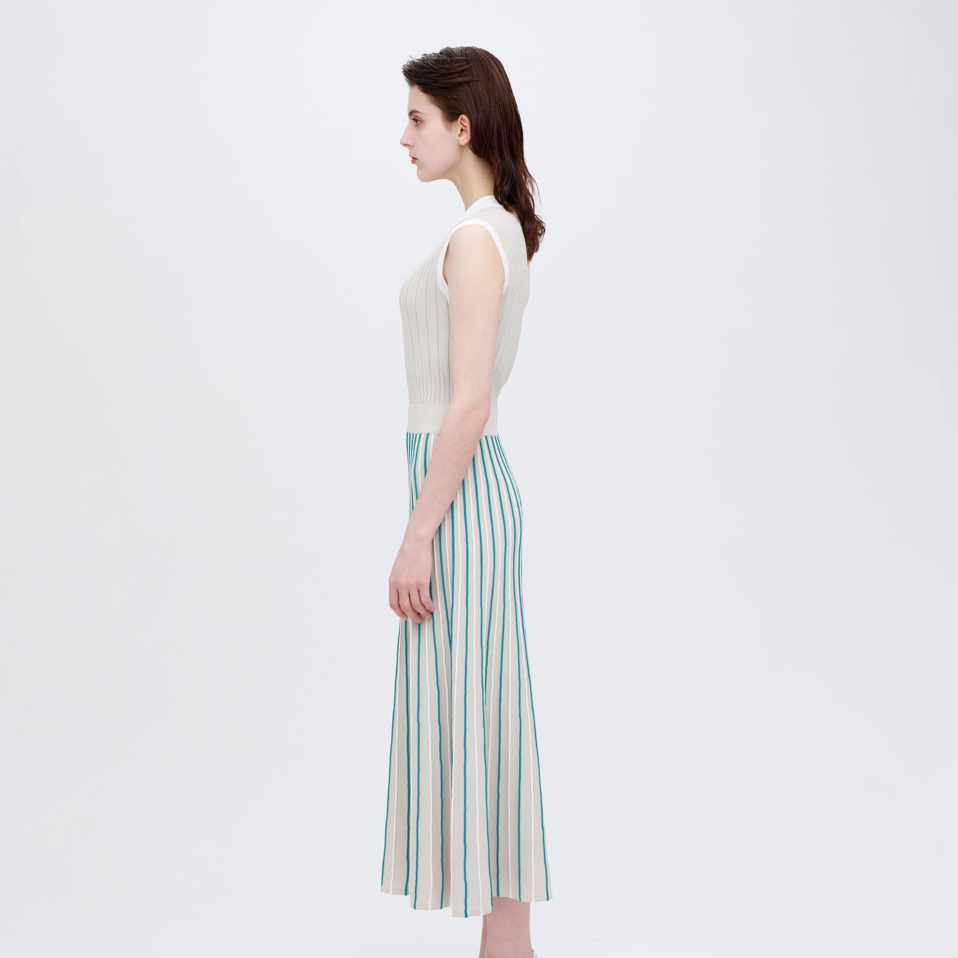 【otona MUSE掲載商品】ストライプ ブロッキング ニットドレス