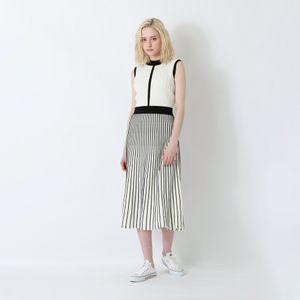 【返品送料無料】ストライプ ブロッキング ニットドレス