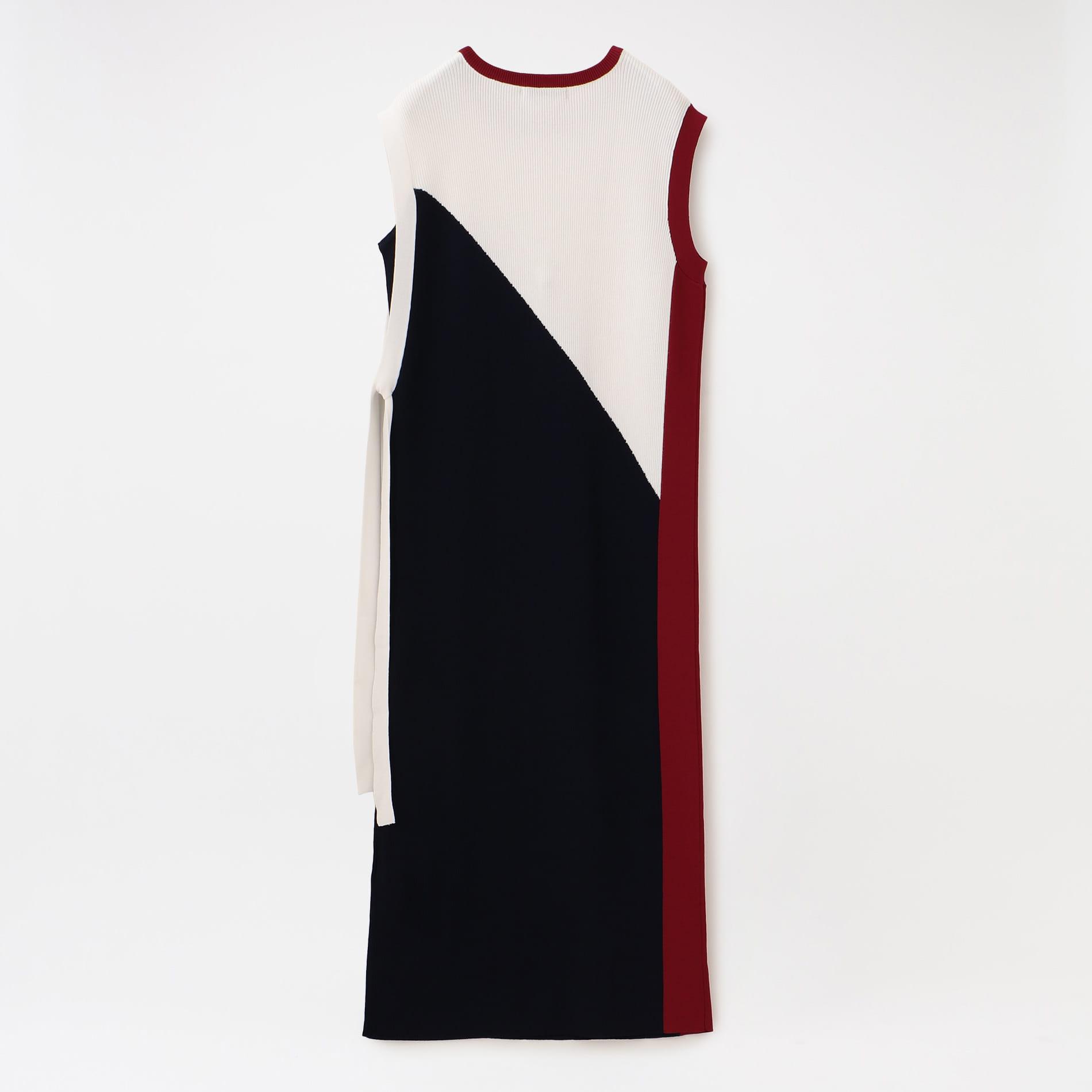 カラーブロック ニットドレス