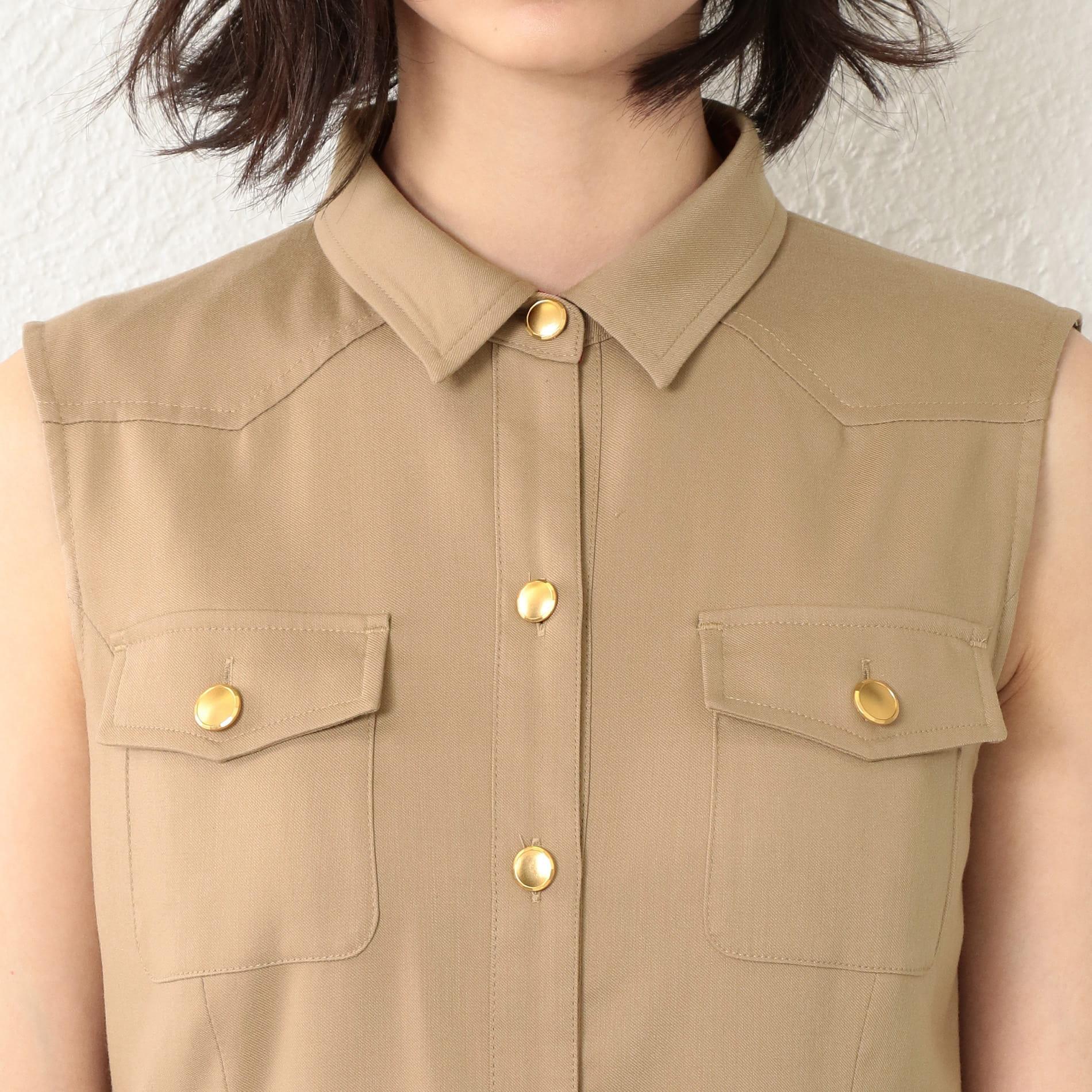 WOMEN ノースリーブシャツドレス