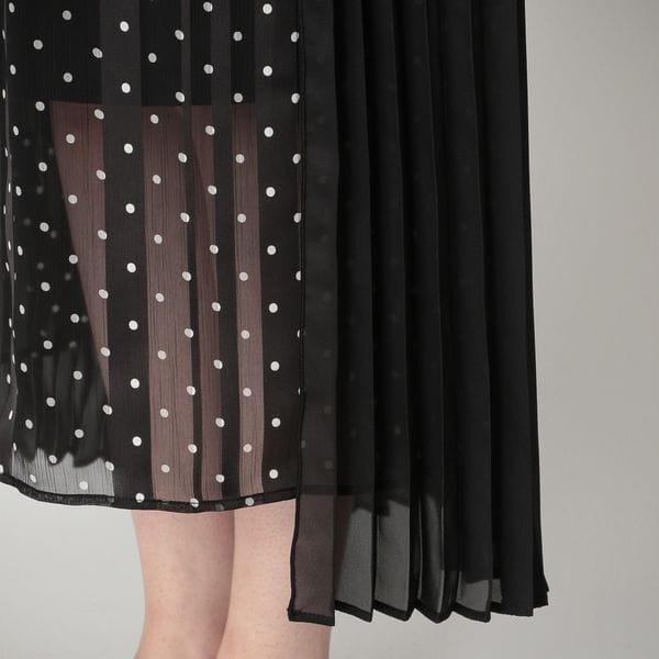 プリーツラップ ドット ドレス