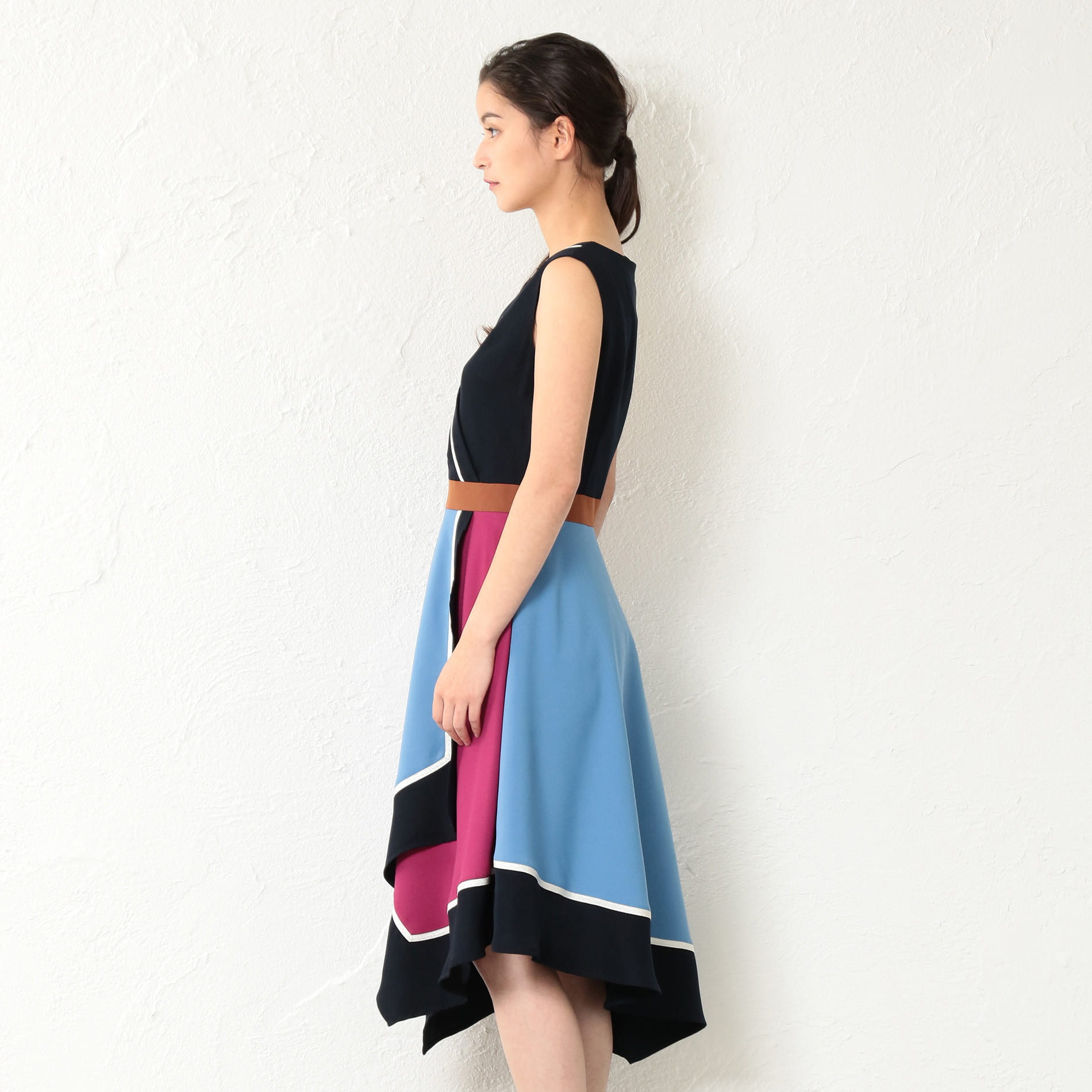WOMEN アシンメトリーカラーブロックドレス