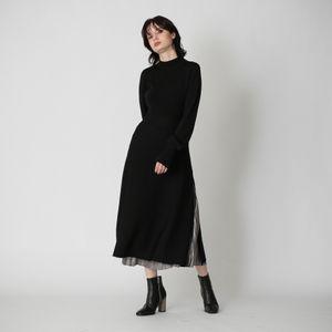 サイドジップ リブコンビ ドレス