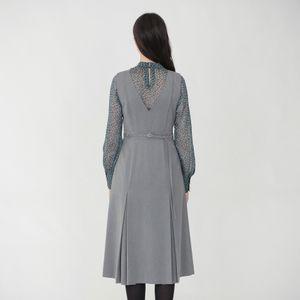 グレー Vネック ジャンパースカート