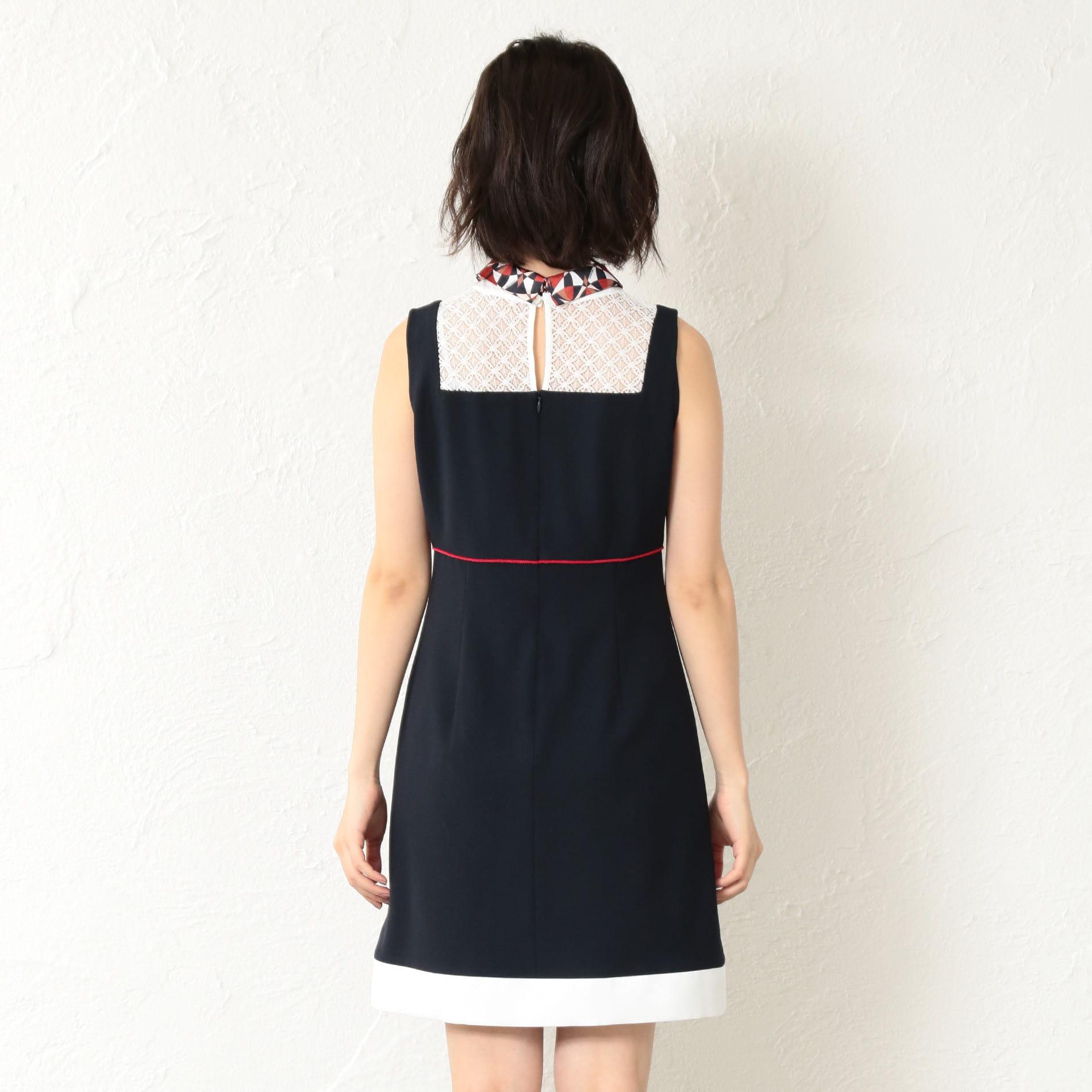 WOMEN マリンスカーフノースリーブドレス