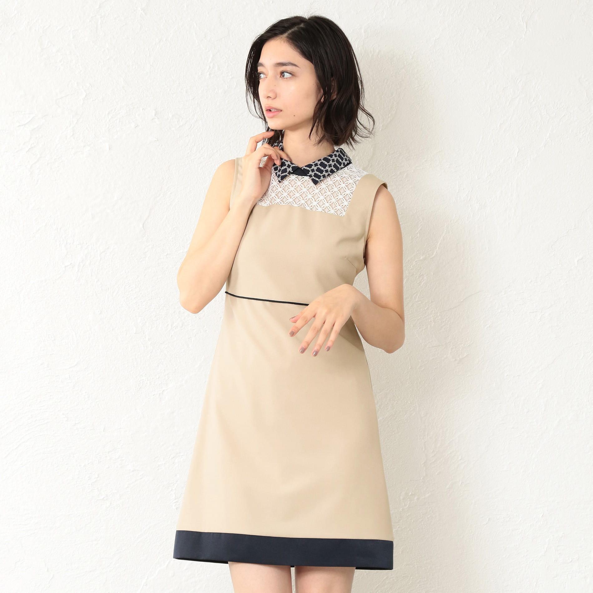 WOMEN ベージュノースリーブドレス