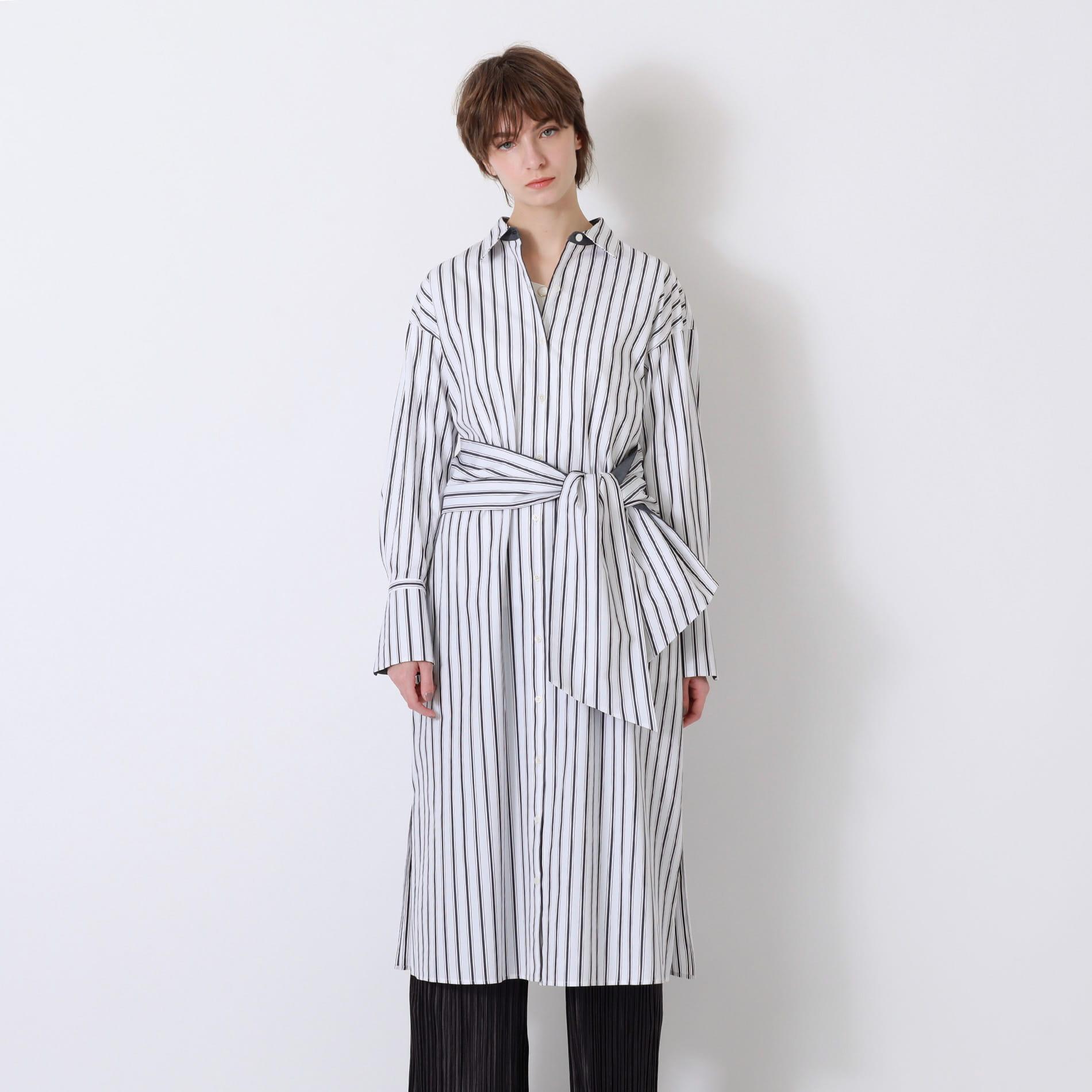 【返品送料無料】ホワイトストライプ ロング シャツ ドレス
