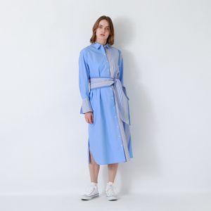 【返品送料無料】サックスストライプ ロングシャツ ドレス