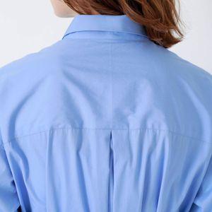 サックスストライプ ロングシャツ ドレス