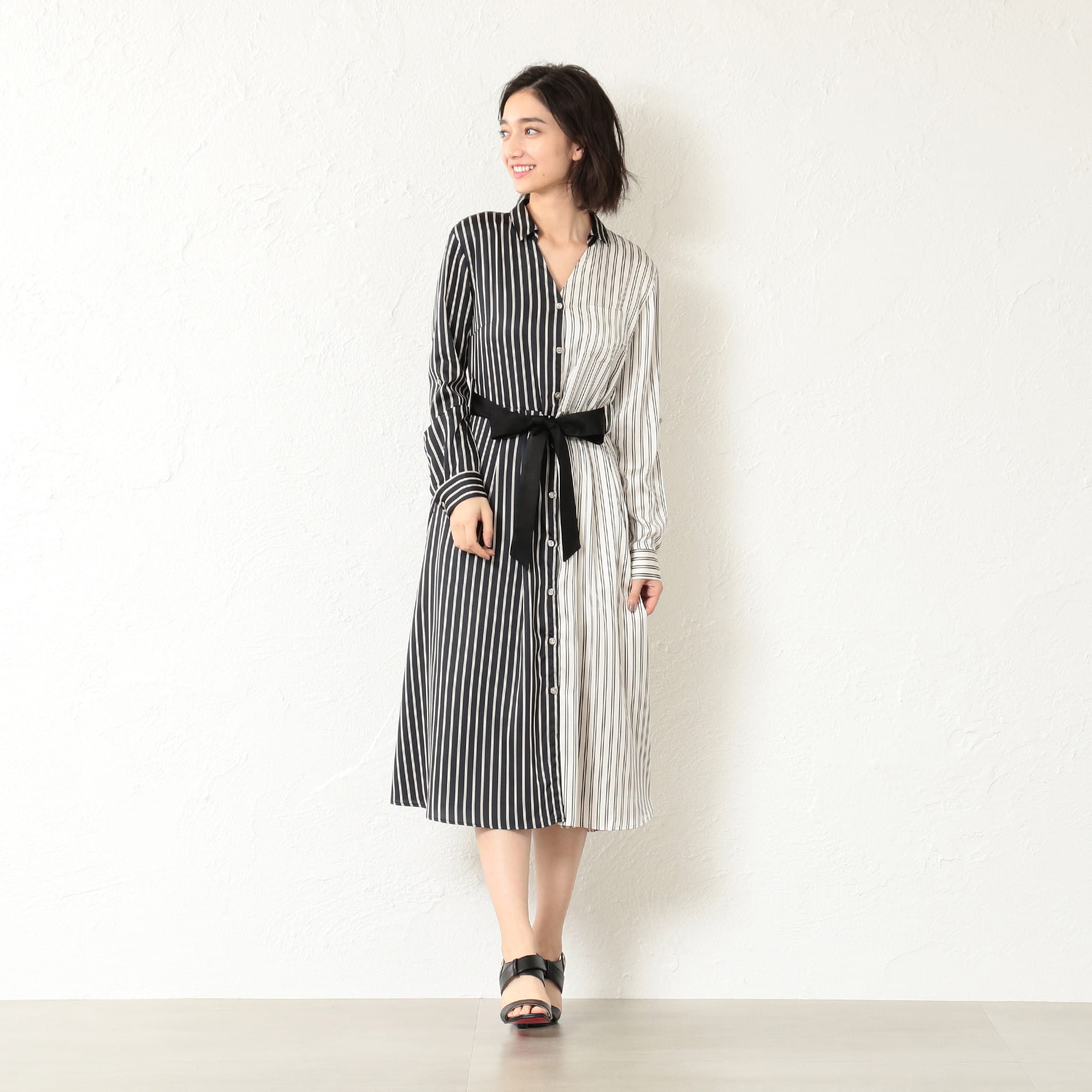 WOMEN スプリットストライプシャツドレス