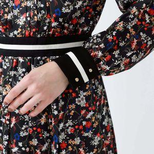 フラワープリント ハイネックドレス