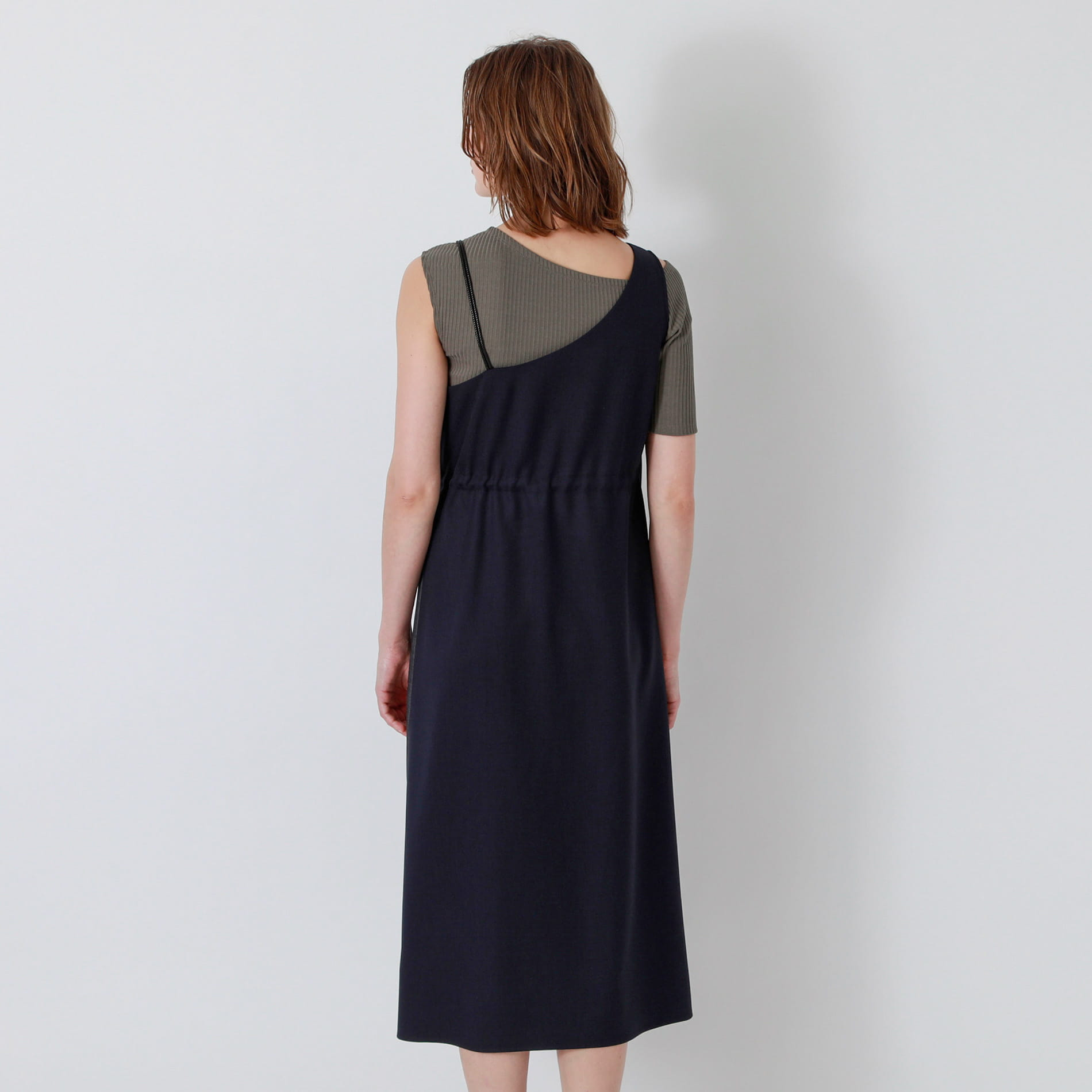 【返品送料無料】ネイビーアシンメトリー スタイリング ドレス
