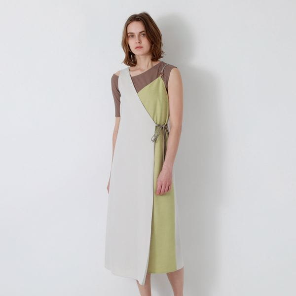 【返品送料無料】ベージュアシンメトリー スタイリング ドレス