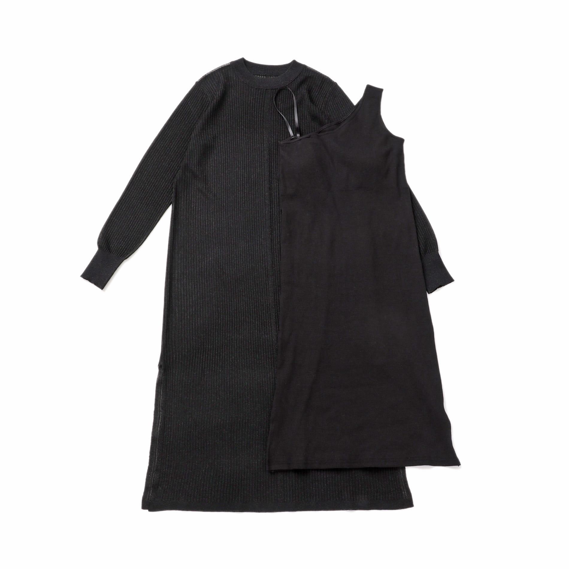シアー レイヤード ワンショルダー ドレス