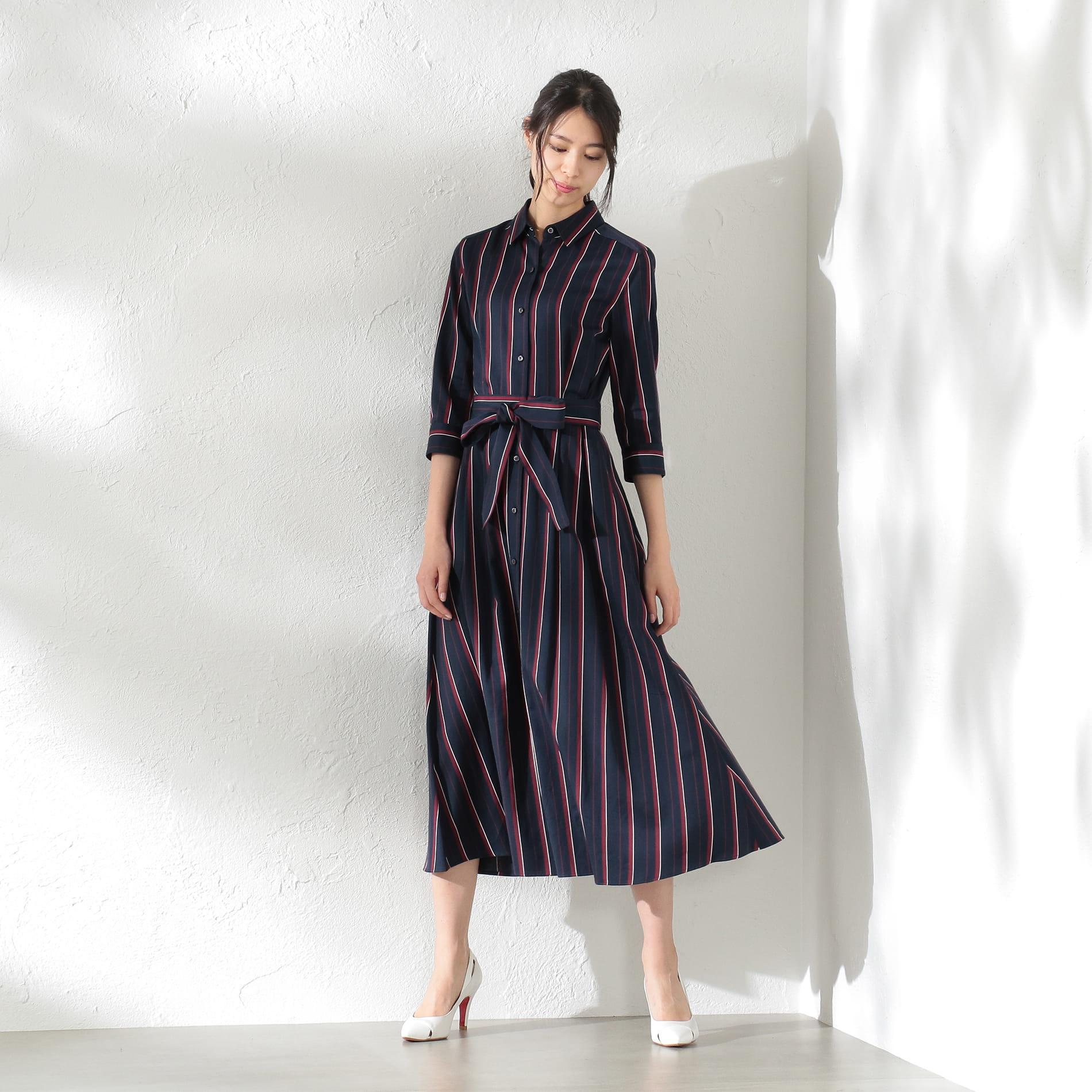 【LOVELESS×otona MUSE】WOMEN レジメンタルストライプシャツドレス