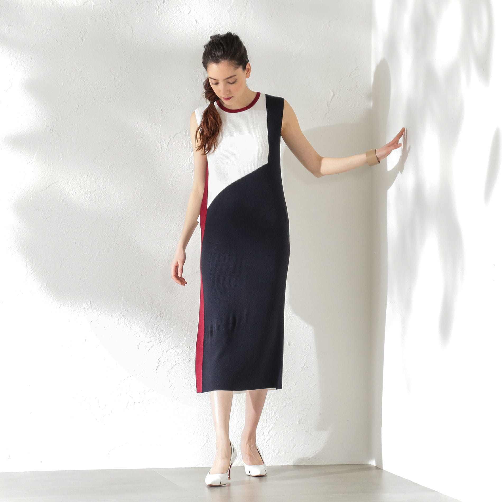 WOMEN カラーブロックニットドレス